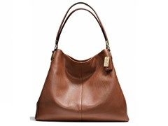 Madison Phoebe Leather Shoulder Bag, Chestnut