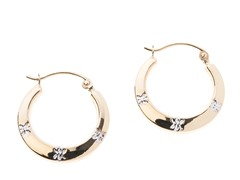 14kt Gold Hoop Earring, Station Accents