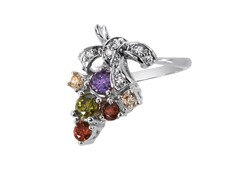 18kt White Gold Plated Multi CZ Ring