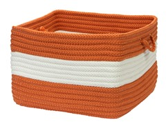Banded Storage Basket Rectangle - Rust (2 Sizes)