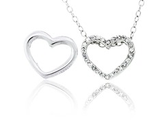 SS Reversible CZ Open Heart Pendant w/ Chain
