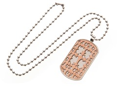 Stainless Steel Dog Tag w/ Brown Cut Out Fancy Cross