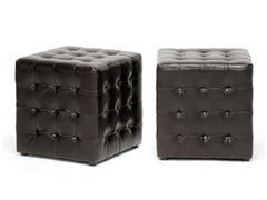 Siskal Cube Ottoman Set of 2 - Dk Brown