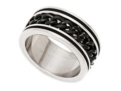 2-Tone Black Stainless Steel Cuban Ring
