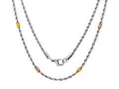 "Stainless Steel 18"" Rope Chain w/ Barrel"