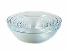 Duralex Asst of 9 Rimmed Nesting Bowl Set Clear