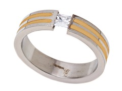 2-Tone Gold Plated Ring w/ CZ
