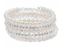 Stainless Steel Stackable Pearl Bracelet