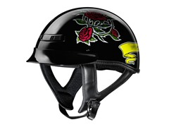 GLX Black Rose Half Helmet