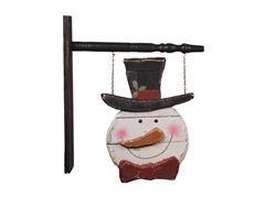 """18"""" Wood Snowman Sign White / Red"""