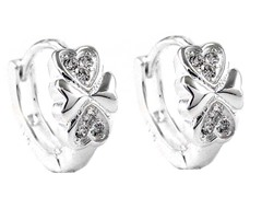 Sterling Silver Simulated Diamond infinity Heart Huggies