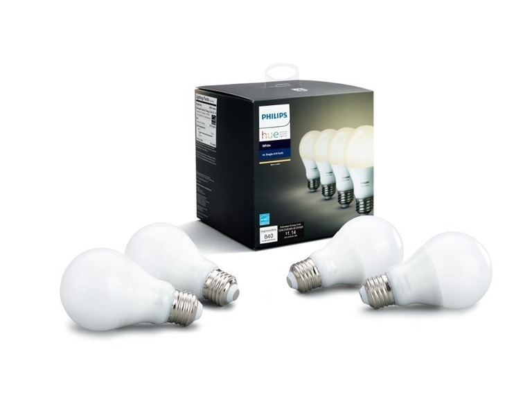 Philips Hue White A19 Dimmable Bulbs 4-Pack