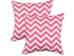 Zig Zag Candy Pink 17x17 Pillows - S/2