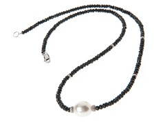 SS Freshwater Pearl, Black Onyx Bead Necklace