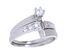 18kt WG Plated SS Curved Engagement Ring Set