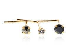 14k Yellow Gold  w/ Swarovski Zirconia Bent Nose Wire 3pc set