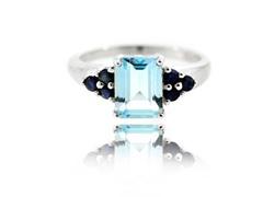 SS Genuine Sky Blue Topaz & Blue Sapphire Ring