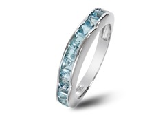 SS Square Cut Blue Topaz Wave Band