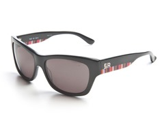 Black Sunglasses w/Stripes and Grey Lens