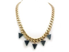 Blue Grapes Crystal Pave Cuban Chain Necklace