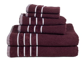 100% Egyptian Cotton Rice Weave 6 Piece Towel Set-8 Colors