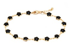 18K GP Black Flower Anklet Bracelet