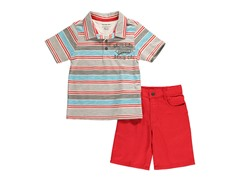 Orange/Blue Stripe 2-Pc Short Set (4-7)