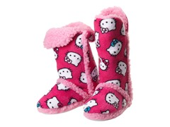 Hello Kitty Junior's Tall Sherpa Trim Slipper Bootie, Fuschia
