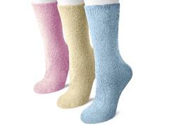 3 Pair Pack Crew Aloe Socks Blue, Pink, Crm