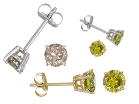 Genuine Champagne & Yellow Diamond Studs - Your Choice