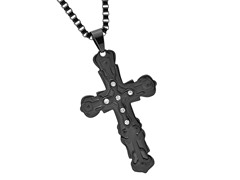 Black IP Cross Pendant w/ Simulated Diamonds