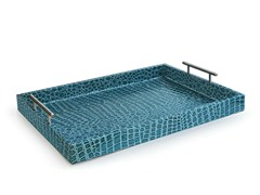 Alligator Blue Tray with Metal Handles