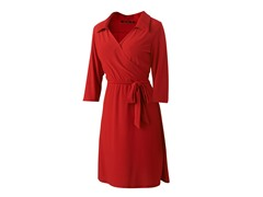 Wrap Dress with Collar, Red