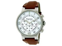 No 8 Round Chronograph White Dial Watch