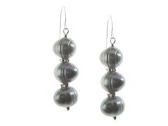SS & Freshwater Pearl Earring, Grey