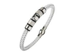 White & Silver Braided Wire Bracelet