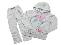 Girls Butterfly Grey Fleece Set