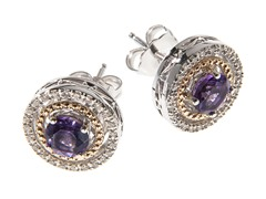 Silver & 14k Gold Amethyst Earrings