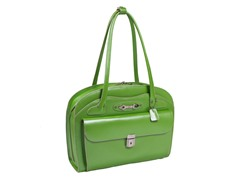 Lyndon Leather Ladies Briefcase - Green