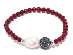 SS Dyed Ruby Gemstone Freshwater Pearl Crystal Ball Stretch Bracelet