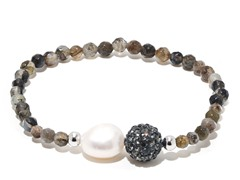SS Smokey Quartz Gemstone Freshwater Pearl Crystal Ball Stretch Bracelet