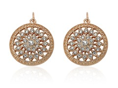 Riccova Country Chic Rose Gold Pl Crystal Flower Medallion Earring