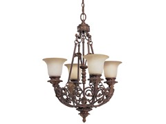 4-Light Messina Chandelier, Mahogany