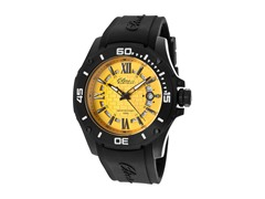 Elini Barokas Black Silicone Gold Dial Watch