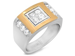 SS Ring w/ Sim. Diamonds & 18kt Plating