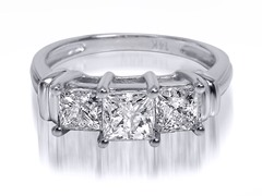1.50 CTTW 3-Stone Princess Cut Diamond Ring - White Gold