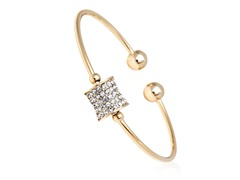 Gold/White Swarovski Elements Charm Bangle