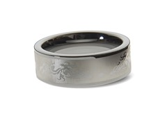 Tungsten Dragon Pattern Ring