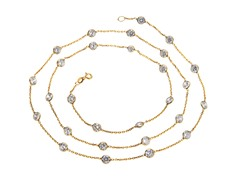 18 kt Gold Plated SS 32 inch Simulated Diamond By The Yard Necklace