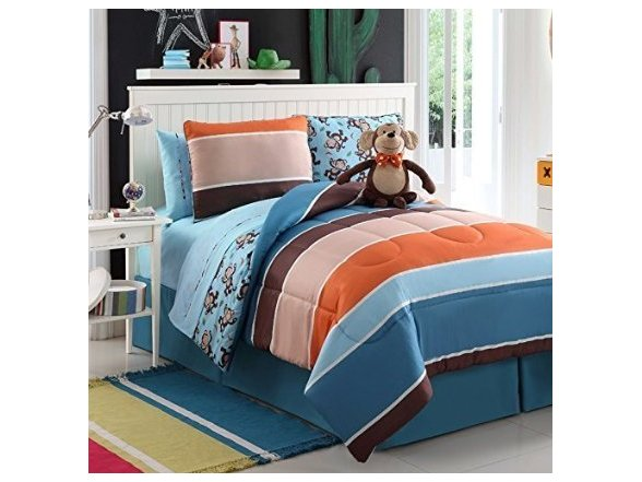 7 Pc Reversible Boys Monkey Comforter Set Bed In A Bag Twin Size